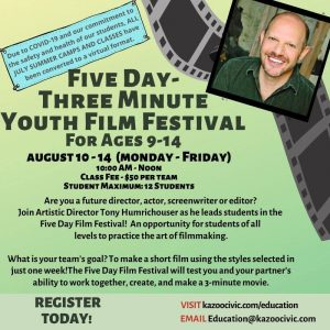 Five Day - Three Minute Youth Film Festival (Ages ...