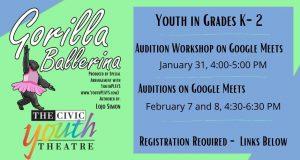 CYT Gorilla Ballerina Auditions (Grades K-2)